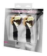 Eye Candy Peekaboo Pasties Gold Sequin With Black Tassel Pair PK318 - $14.99