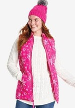 NEW WOMENS PLUS SIZE 30W/32W QUILTED PINK SNOWFLAKE VEST FRONT ZIP FRONT... - $19.34