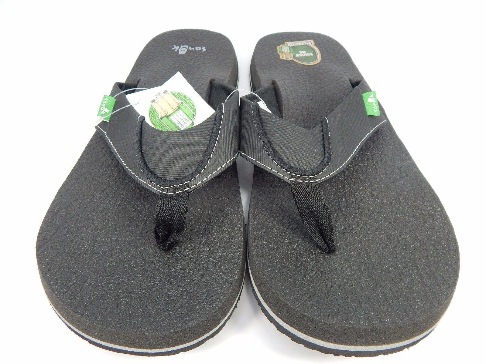 Sanuk Beer Cozy Men's Sandals Flip- Flop Size US 9 EU 42 Black SMS2839 BLK