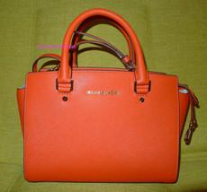 Michael Kors Selma Medium Saffiano Leather Satchel Handbag Tote Mandarin - $176.42