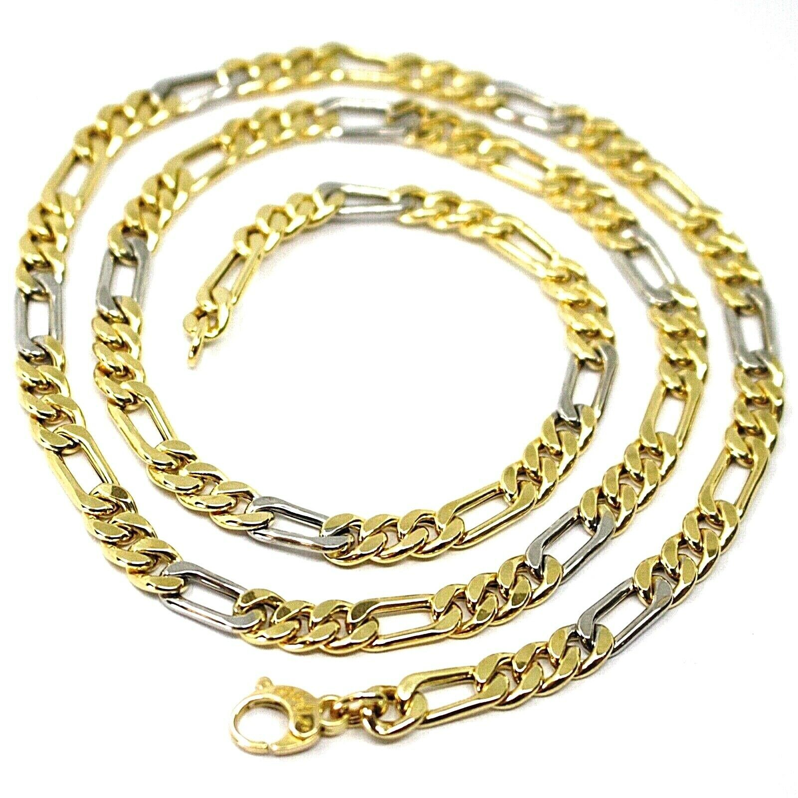 18K YELLOW WHITE GOLD CHAIN, BIG 6 MM FIGARO GOURMETTE ALTERNATE 3+1, 24 INCHES