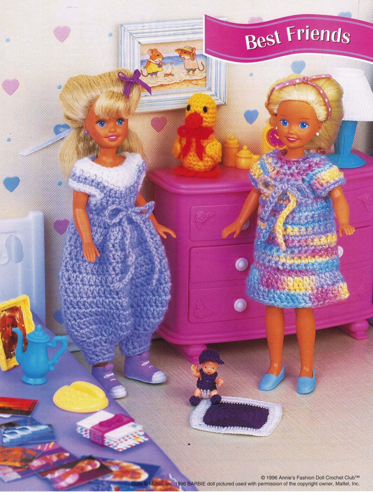"9-1/2"" Fashion Doll Play Friends Ruffled Pinafore Crop Top Short Crochet Pattern"