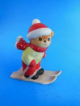 "Vintage Lucy & Me Bear on Snow Skis Porcelain Christmas Figurine 3"" - $7.91"