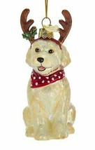"Kurt Adler 3.75"" Noble Gems Labradoodle w/ANTLERS Dog Glass Christmas Ornament - $15.88"