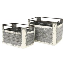 14.25 in. x 10.25 in. Metal Storage Containers in Gray (Set of 2) - $127.99