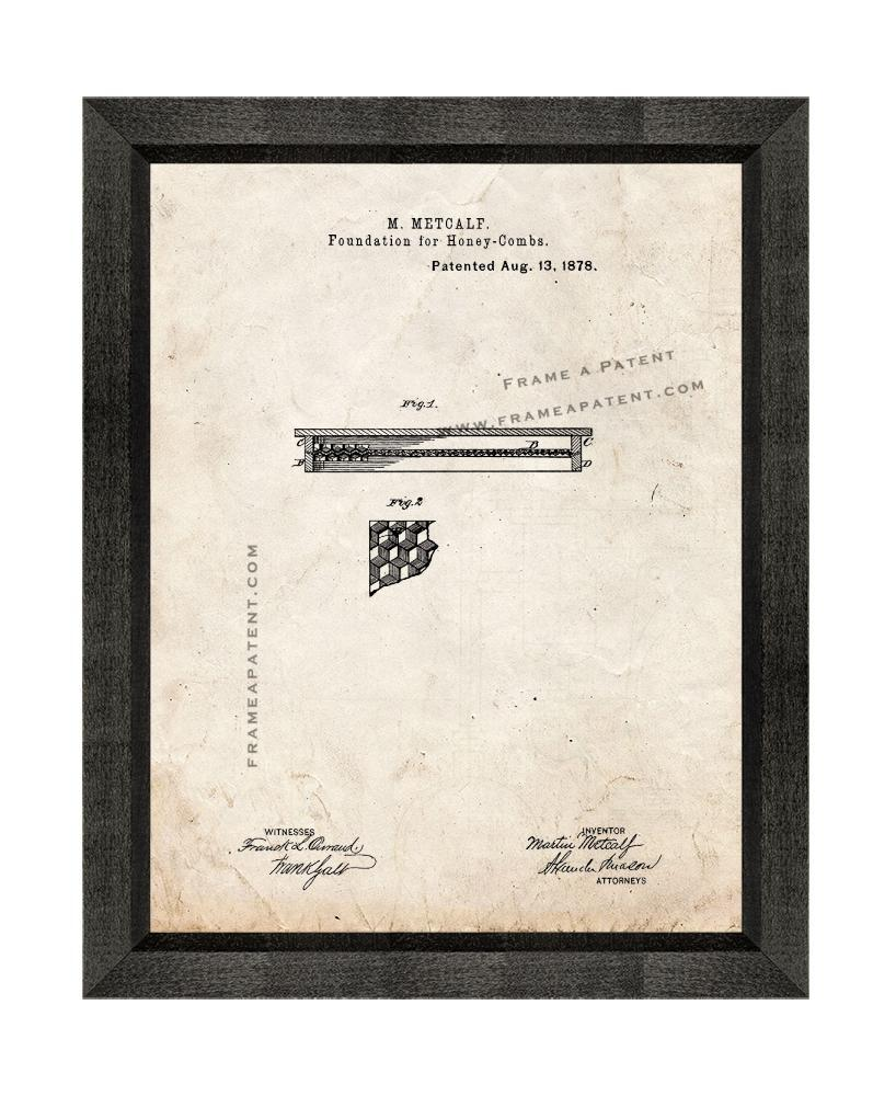 Primary image for Foundations For Honey Combs Patent Print Old Look with Beveled Wood Frame