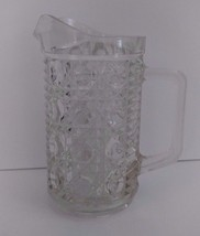 """Vintage 1970s Federal Glass Clear Windsor Button Small 6"""" Pitcher - $16.82"""