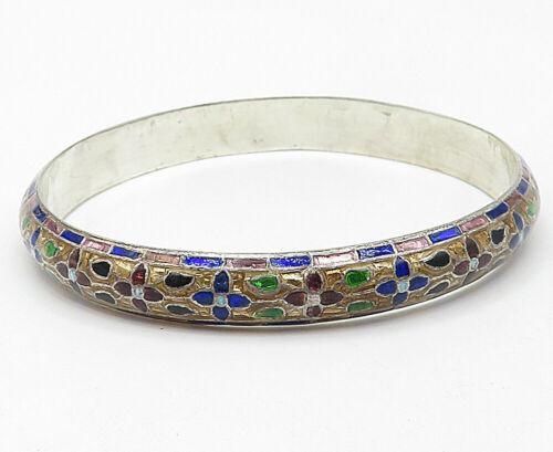 925 Sterling Silver - Vintage Enamel Floral Pattern Bangle Bracelet - B4982