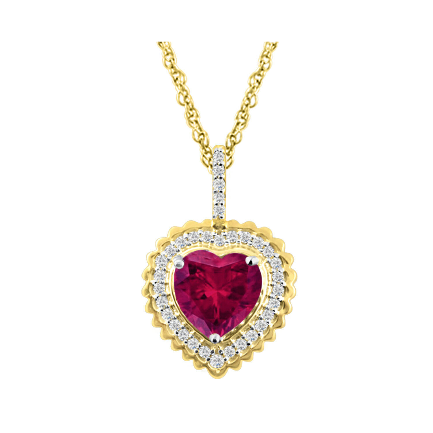 Valentine Heart Pendant Rose Gold White Fn Round Simulated Diamond With 18 Box Chain