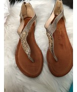 Jessica Simpson Flip Flop Thong Gold Jeweled Casual Sandals 8.5 - $39.59