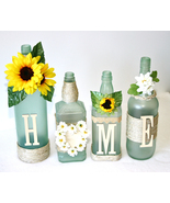 Frosted Green Decorated Wine Bottles HOME Desig... - $40.00
