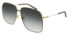 Gucci GG0394S-001 Black / Gold Tone Metal Frame Grey Lens 61mm Sunglasses  - $234.22