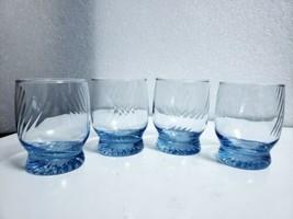 Set of 4 Libbey Misty Blue Swirl Sapphire Double Old Fashioned Rocks Gla... - $31.68