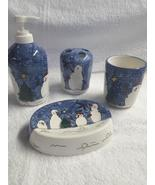 Blue and White Snowman Ceramic Bath Set - £3.92 GBP
