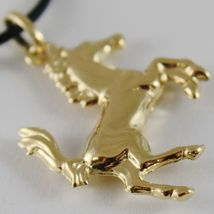 18K YELLOW GOLD ROUNDED HORSE PENDANT CHARM 32 MM SMOOTH BRIGHT MADE IN ITALY image 3