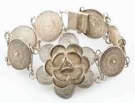 Vintage Mexican Silver Filigree Plaque Bracelet with Gorgeous Floral Centerpiece - $102.85