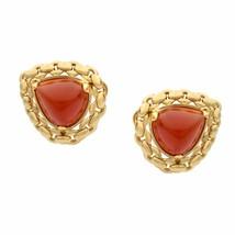 Hermes Vintage Sugarloaf Carnelian 18k Yellow Gold Earrings - $5,800.00