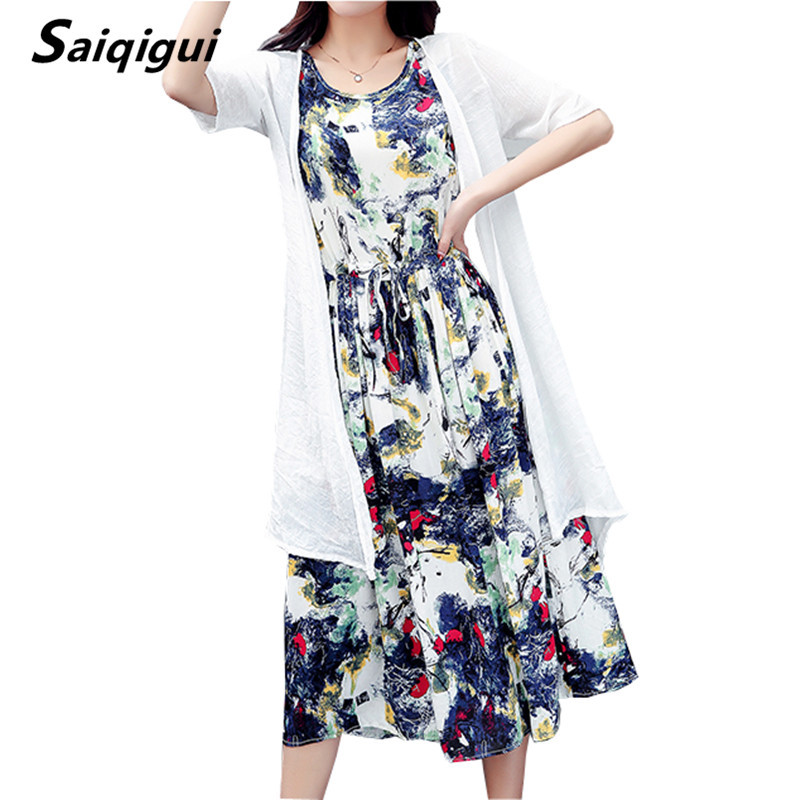 Saiqigui  Summer dress women dress casual Loose tow piece Cotton Line dress Prin image 2