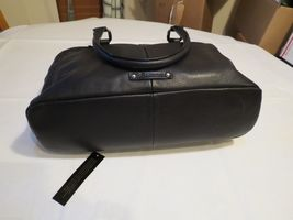 B. Makowsky black soft leather purse tote hand bag organizer computer laptop image 3
