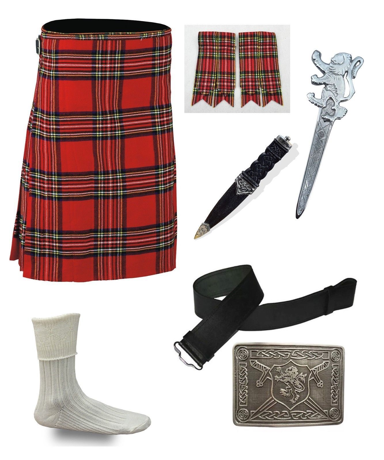 Scottish Kilt Sporran Formal Seal Skin Stag Head Buckle Pin Plaid Brooch Antique