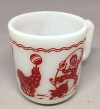 Hazel Atlas child's mug cup Red circus theme clown seal donky  Milk Glass Rare - $14.03