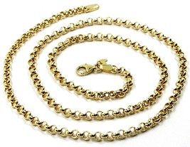 9K YELLOW GOLD CHAIN ROLO CIRCLE LINKS 3.5 MM THICKNESS, 20 INCHES, 50 CM image 1