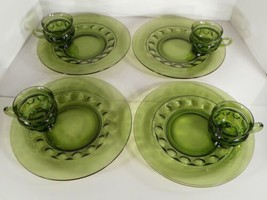 Colony Kings Color Crown Green Snack Plate And Cup Set (S) Lot Of 4 Thumbprint - $39.55