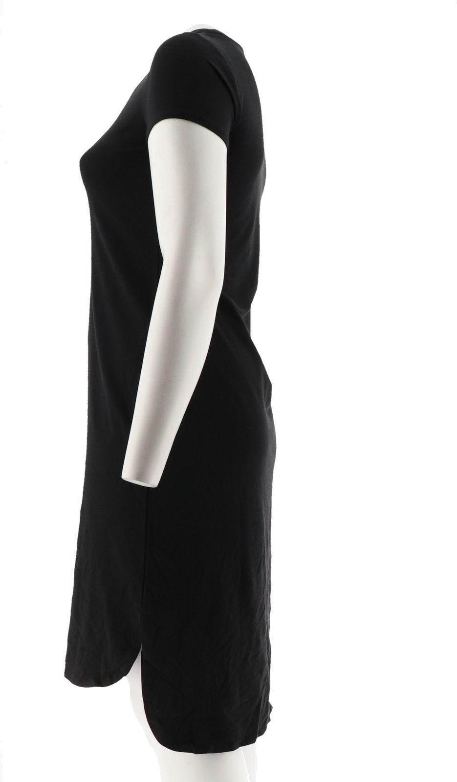 H Halston Essentials Knit Midi Dress Shirttail Hem Black XS NEW A290894 image 2