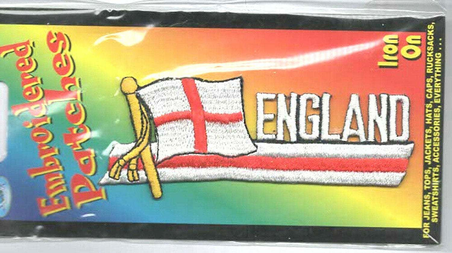 england wording with st george flag embroidered iron / sew on patch