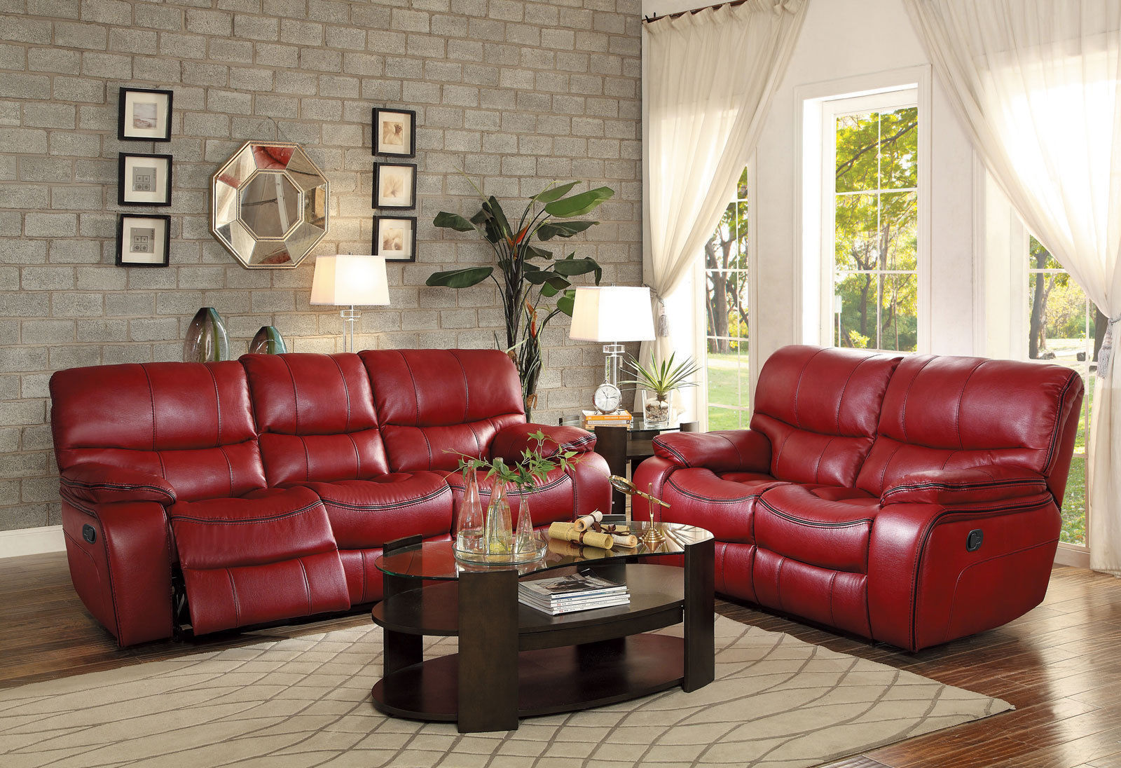 Modern living room couch set new red faux leather - Red leather living room furniture set ...