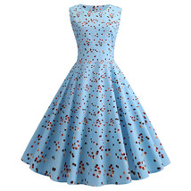 Blue Polka dot O-neck sleeveless Women's causal retro pendulum Dresses #... - $33.00