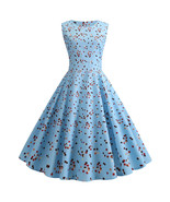 Blue Polka dot O-neck sleeveless Women's causal retro pendulum Dresses #... - $33.00
