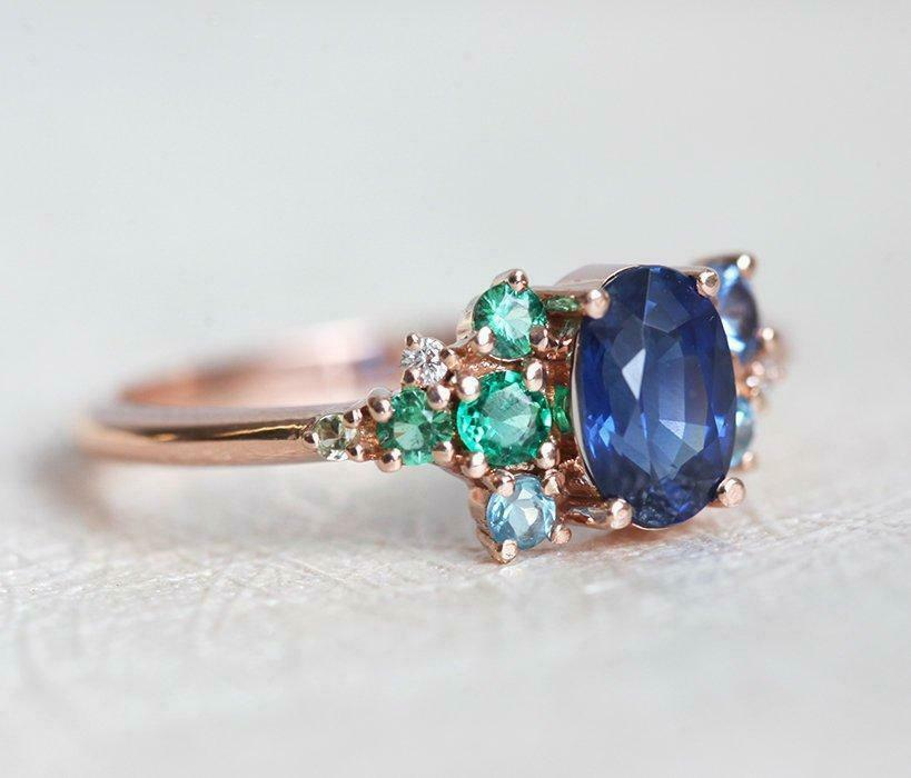 Primary image for 2Ct Oval Cut Blue Sapphire 14K Rose Gold Over Engagement Wedding Vintage Ring