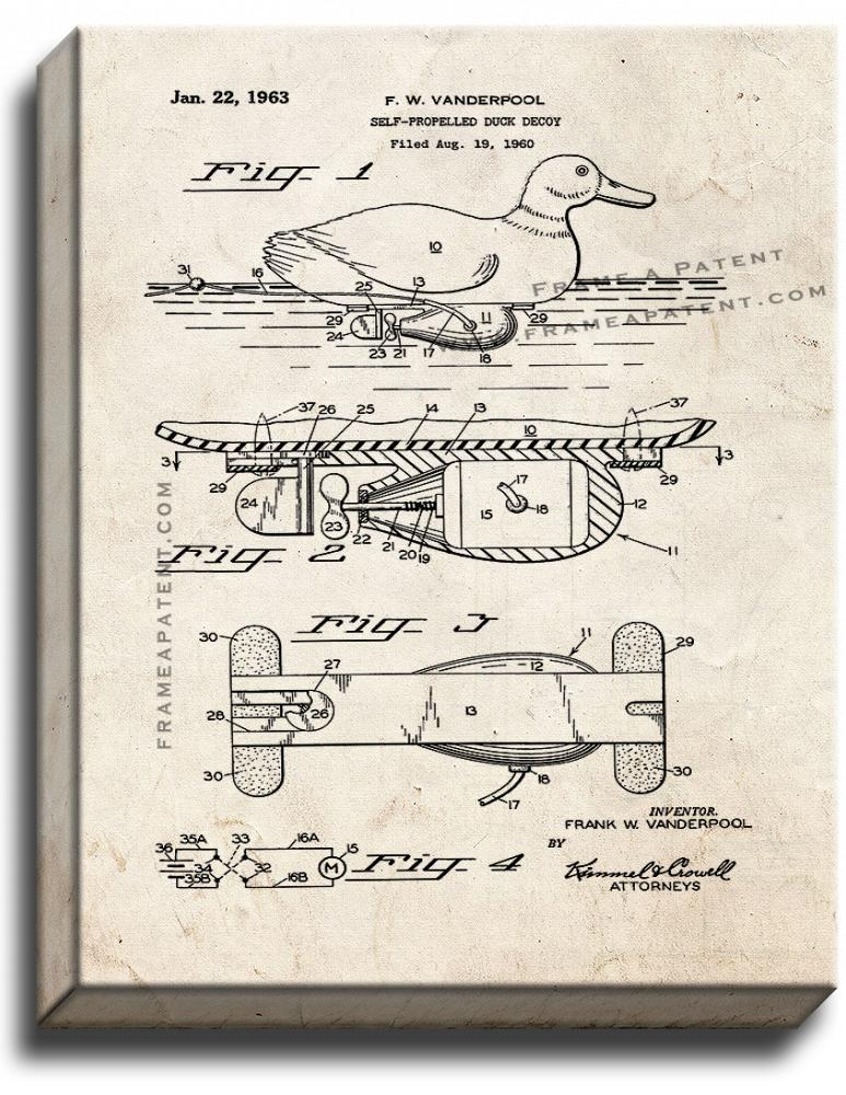 Primary image for Self-propelled Duck Decoy Patent Print Old Look on Canvas