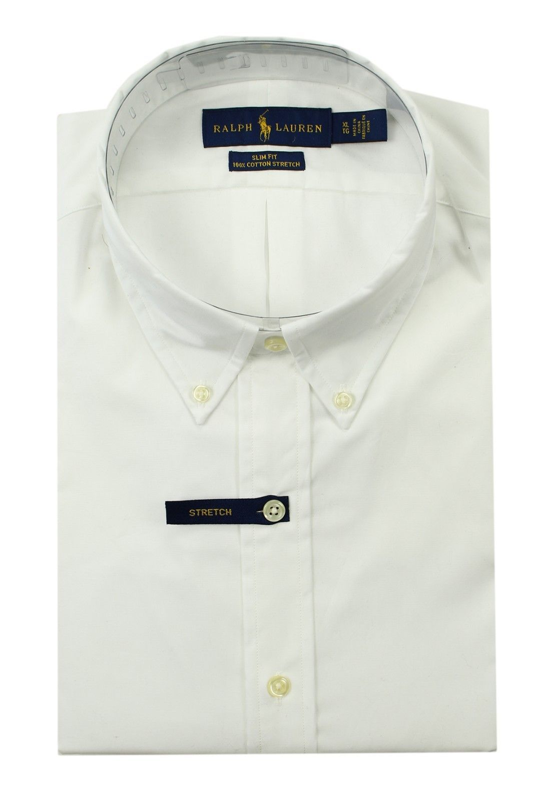 Primary image for NEW RALPH LAUREN SLIM FIT 100% COTTON STRETCH WHITE SOLID BUTTON FRONT SHIRT 2XL