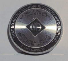 4 Year Narcotics Anonymous NA Medallion Coin 1991 NAWS Token Chip Coin - $19.30