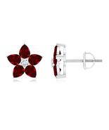 """14K White Gold Over Garnet & Sim Diamond Stud Flower Women""""s Earrings  - $55.00"""