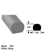 """High Temperature Foam Rubber Surface Mount Seal, Ht 1/4"""" x O'all Wd 1/4"""" - Gray - $51.53"""