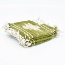 Handmade Zapotec Indian Weaving Hand-Woven Pine Tree Green Wool Coaster Set of 4 image 4