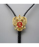 Original Antique Gold Russian Double Headed Empire Eagle Rhinestone Bolo... - $14.06