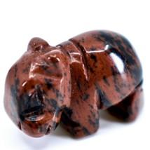 Mahogany Obsidian Gemstone Tiny Miniature Hippo Figurine Hand Carved in China image 2