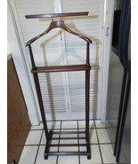 Mens Valet Suit Stand Vintage Prep Rack Display w Watch Coin Tray - $98.01