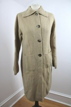 Vtg Talbots M Tan Brown Alpaca Button-Up Long Duster Cardigan Sweater Co... - $45.60