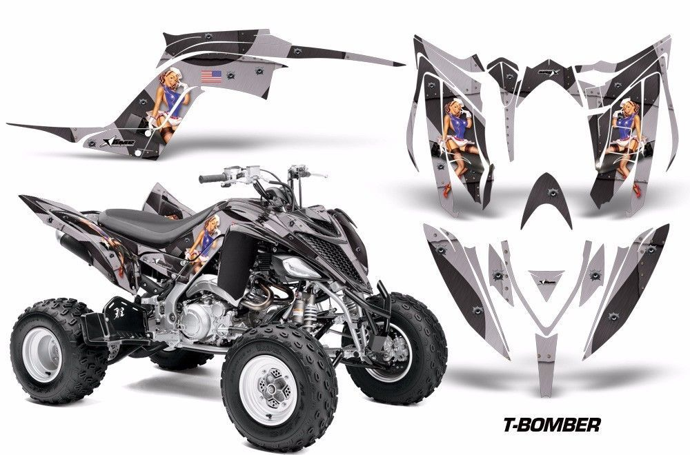 ATV Graphics Kit Decal Sticker Wrap For Yamaha Raptor 700R 2013-2018 TBOMBER BLK