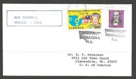 1976 Paquebot Cover Liberia stamp used in Pensacola, Florida - $5.00