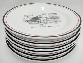 "Restoration Hardware Set of 6 8"" Plates w Wine Humor Cartoon From the Ne... - $39.59"