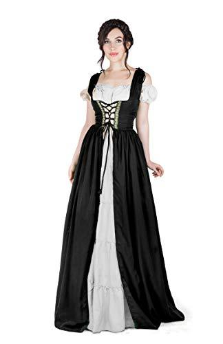 Boho Set Medieval Irish Costume Chemise and Over Dress (XXS/XS, Black/White)