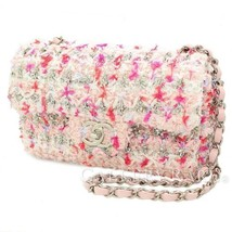 CHANEL Chain Shoulder Bag Tweed Knit Pink A57651 2018SS France Authentic... - $3,234.97