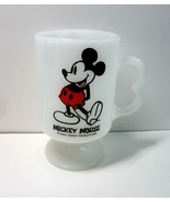 Vintage Walt Disney Productions MICKEY Mouse White Milk Glass Footed Oz ... - $11.99