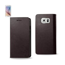 REIKO SAMSUNG GALAXY S6 FLIP FOLIO CASE WITH CARD HOLDER IN BROWN - $8.69